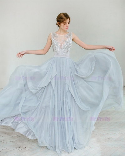 Grey Blue Chiffon Skirt Bridal Skirt Wedding Skirt