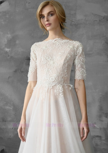 Ivory Lace Chiffon Bridal Dress Wedding Dress