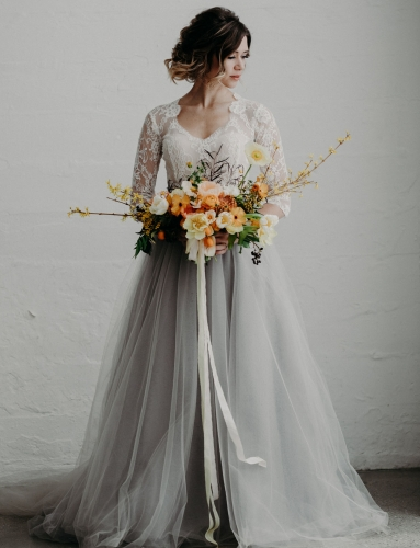 Grey Short Train Full Length Wedding Skirt
