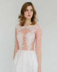 Ivory Lace Rose Red Tulle Wedding Top