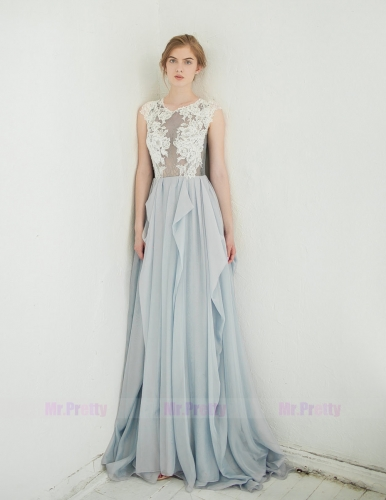 Light Gray Lace Tulle Wedding Top