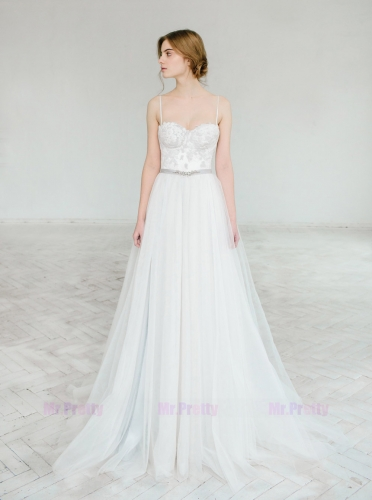 Grey Ivory Lace Satin Bridal Top Strapless Wedding Top