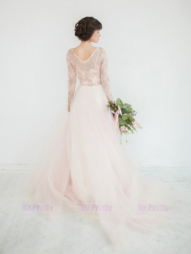 Champagne Lace Tulle Long Sleeve Wedding Top