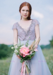 Lavender Lace Tulle Short Sleeve Top Wedding Top