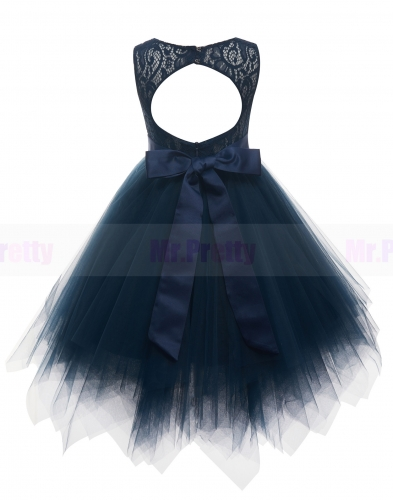 Navy Blue Lace Tutu Flower Girl Dress