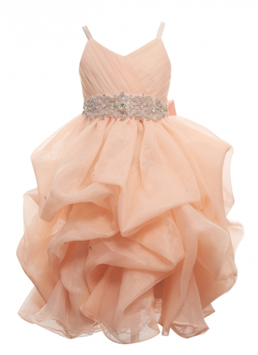 Peach Organza Long Flower Girl Dress