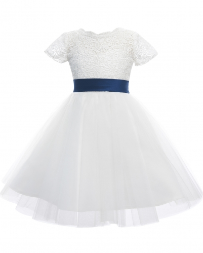 Ivory Lace Tulle Girls Party Dress Flower Girl Dress