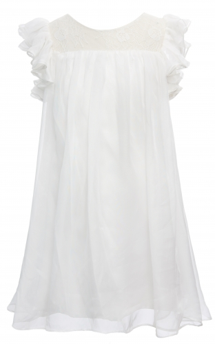 Ivory Lace Chiffon Girls Wedding Party Dress