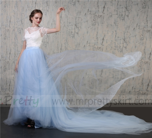 Light Blue Tulle Wedding Skirt Bridal Skirt