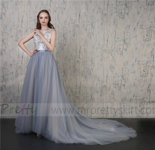 2 Colors Grey Tulle  Wedding Skirt Bridal Skirt