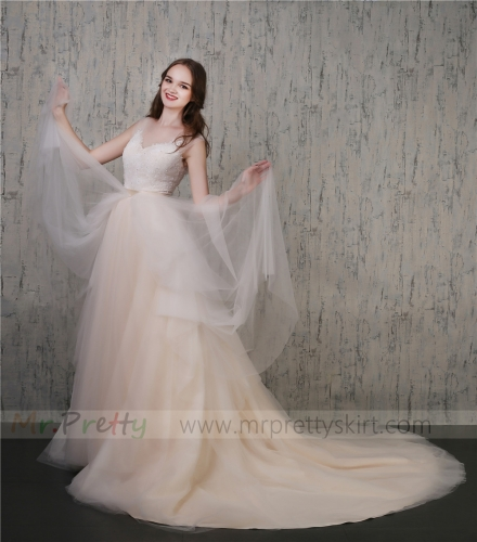 Ivory/Champagne 2 Colors Wedding Skirt