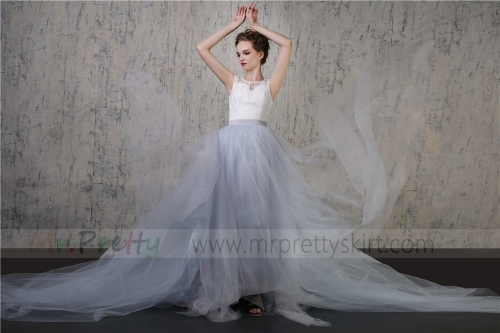 Light Grey Tulle Wedding Skirt Bridal Skirt