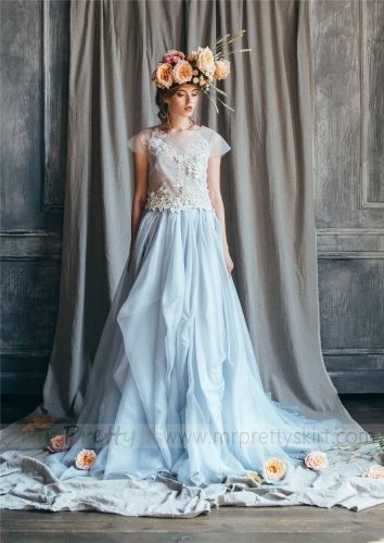 Light Blue Organza Skirt Bridal Skirt Wedding Skirt