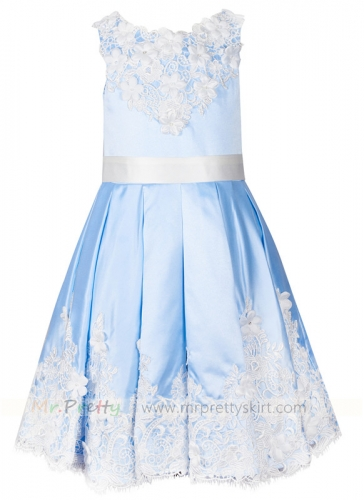 Light Blue Lace Flower Girl Dress Holiday Dress