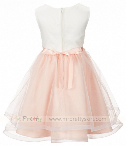 Peach Organza Flower Girl Dress Holiday Dress