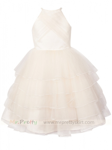 Light Champagne Flower Girl Dress Holiday Dress