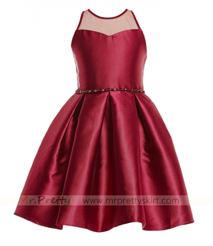 Burgundy Satin Flower Girls Dress