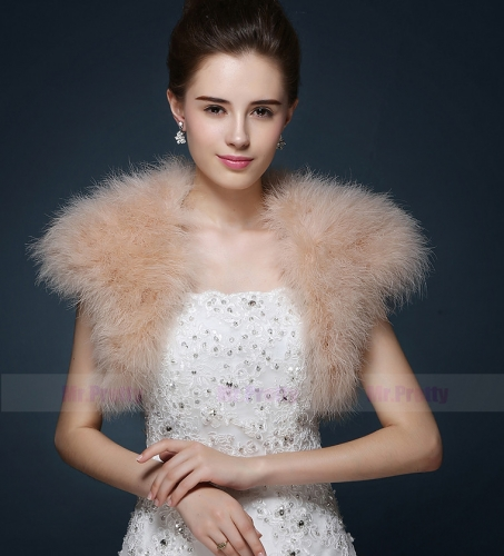 Cap Sleeve Iovry Champagne Fur Wedding Top Hairy Shawl