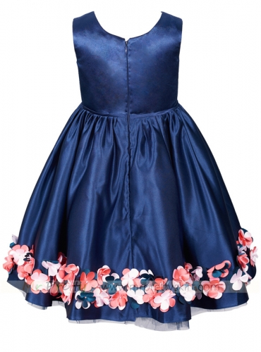 Navy Blue Satin Christmas Dress Holiday Dress