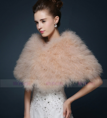 Champagne Fur Wedding Top  Hairy Shawl