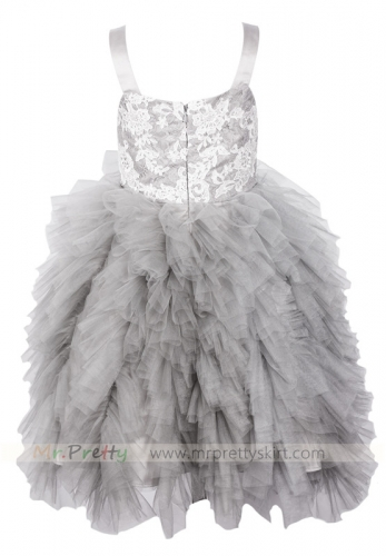 Light Grey Flower Girl Dress Holiday Dress