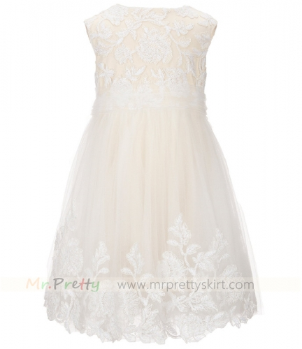 Champagne Lace Tulle Flower Girl Dress
