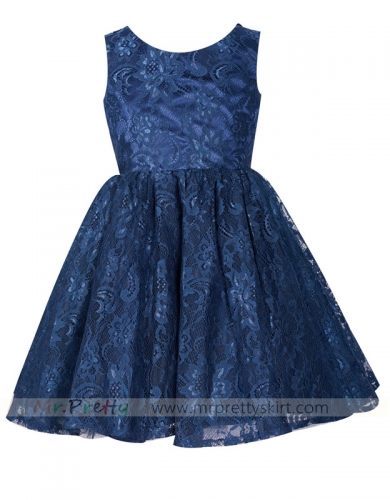 Navy Blue Lace Flower Girls Dress