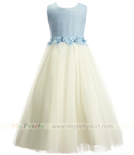 Blue Cream Tulle Flower Girls Dress