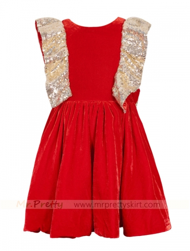 Red Velvet Sequin Flower Girls Dress