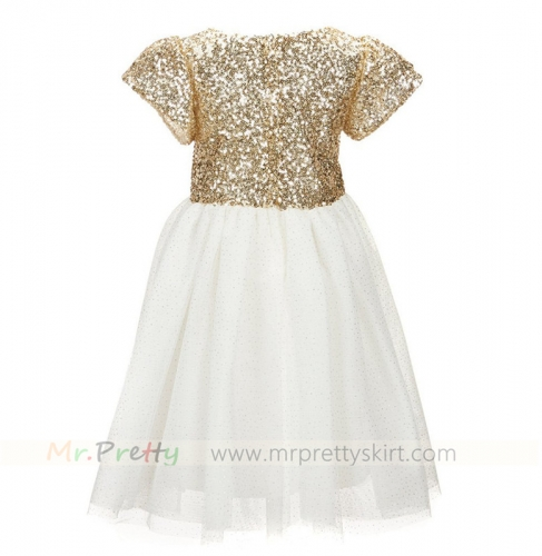 Light Gold Sequin Flower Girls Dress