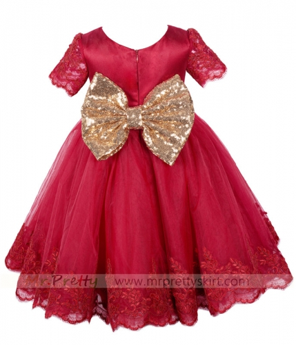 Burgundy Lace Tulle Flower Girl Dress