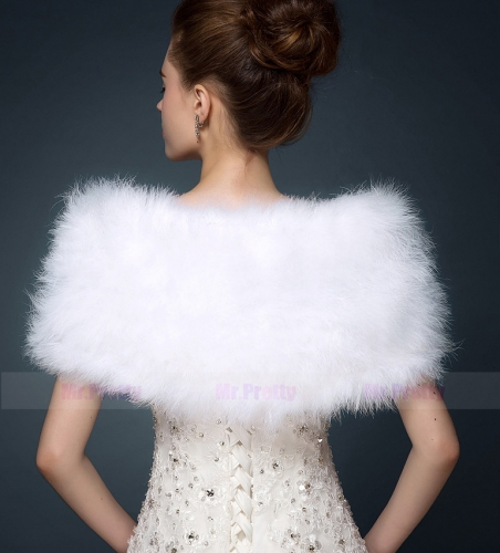 Ivory Fur Wedding Top  Hairy Shawl