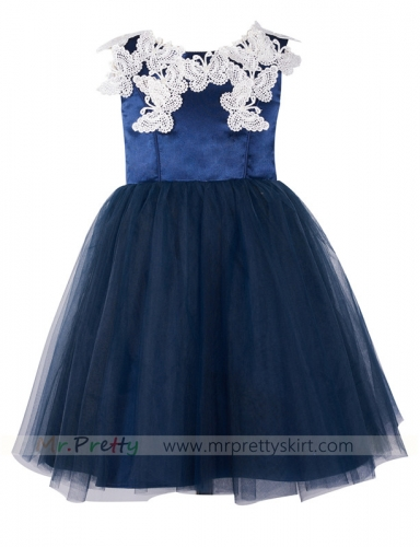 Navy Blue LaceTulle Flower Girl Dress