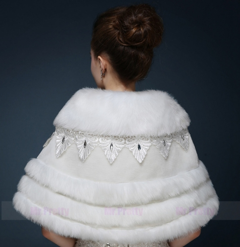 Ivory Beaded Fur Wedding Top Hairy Shawl
