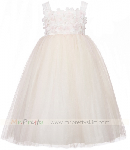 Blush Pink Tulle Flower Girl Dress
