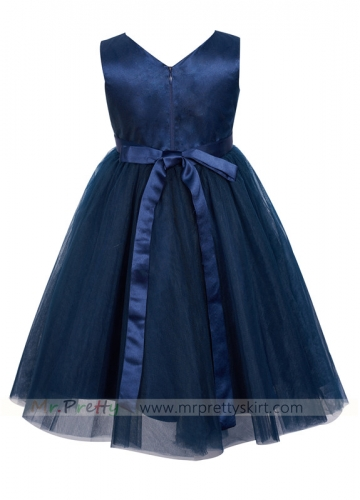 Navy Blue Tulle Flower Girl Dress
