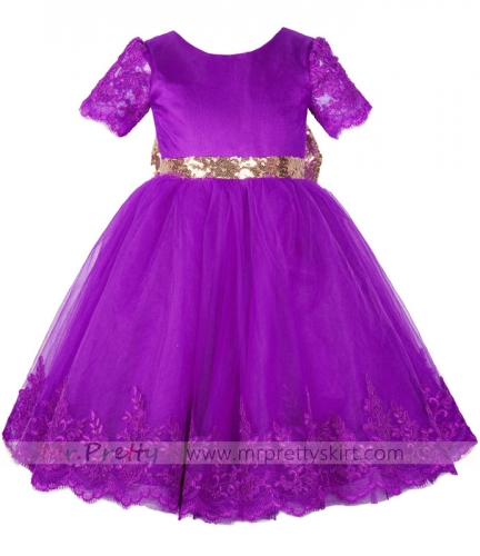 Purple Lace Tulle Flower Girl Dress