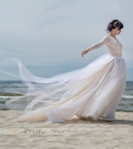 Light Champagne Long Train Wedding Skirt