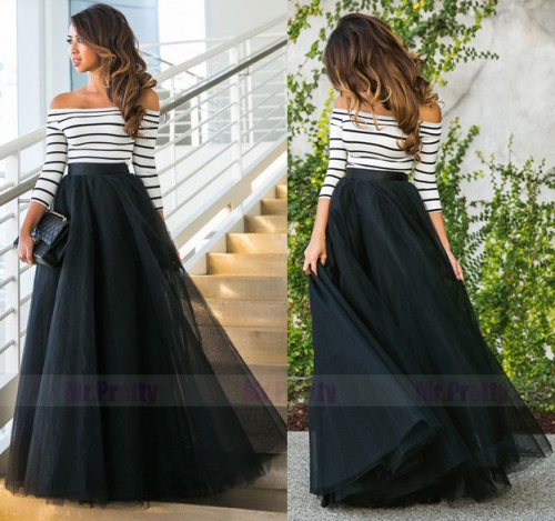Black Tulle  Full Length Wedding Skirt Party Skirt