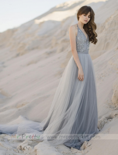 Grey Tulle Long Train Wedding Skirt