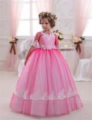 Rose Pink Tulle Flower Girl Dress Pageant Dress