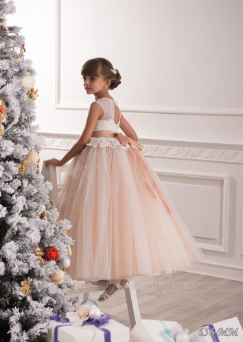 Champagne Flower Girl Dress  Pageant Dress