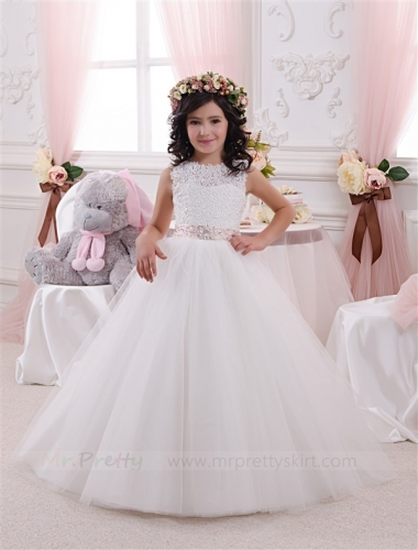 Ivory Lace Flower Girl Dress Pageant Dress