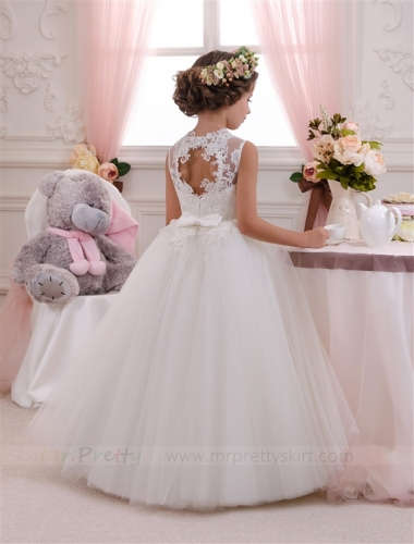 Ivory Tulle HoleBack Flower Girl Dress Pageant Dress