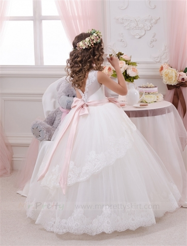 Ivory  Lace Tulle Tutu Flower Girl Dress Pageant Dress