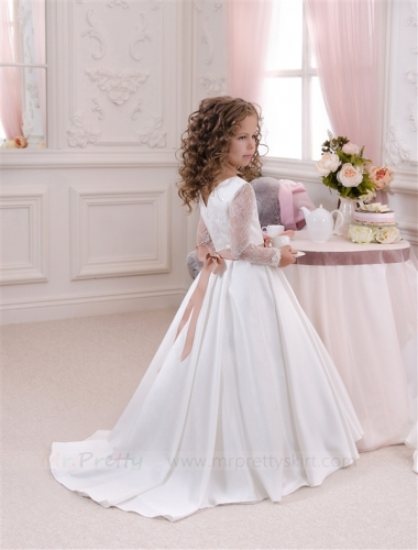 Ivory Satin Flower Girl Dress Pageant Dress