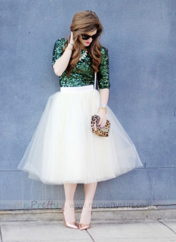 Ivory Knee Tulle Wedding Skirt Bridal Skirt