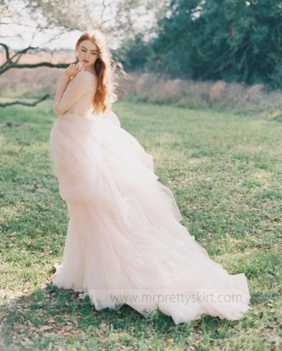 Blush Pink Long Train Wedding Skirt Bridal Skirt