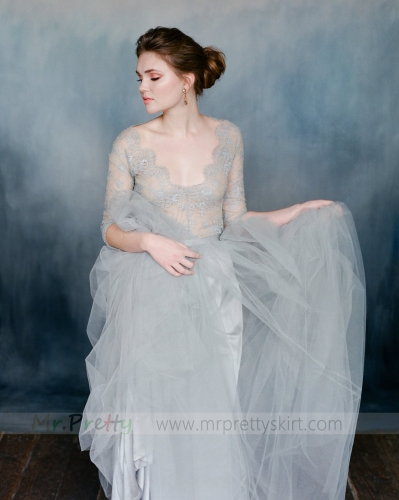 Grey Short Train Wedding Skirt Bridal Skirt