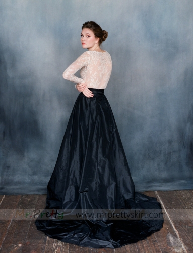 Navy Short Train Wedding Skirt Bridal Skirt